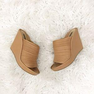 Rachel Zoe Brown Leather Wedge Sandals Size 9